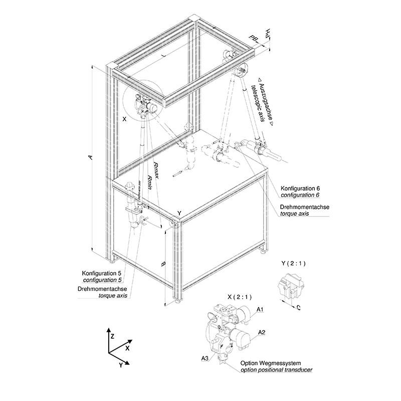 Einzelarbeitsplatz ohne automatischen Werkstücktransfer, Schraubrichtung vertikal und schräg von oben nach unten