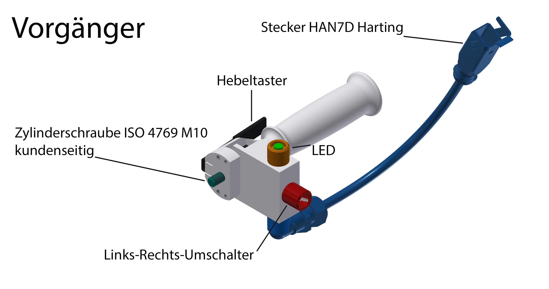 alt Hebeltaster LR und LED mit Beschriftung